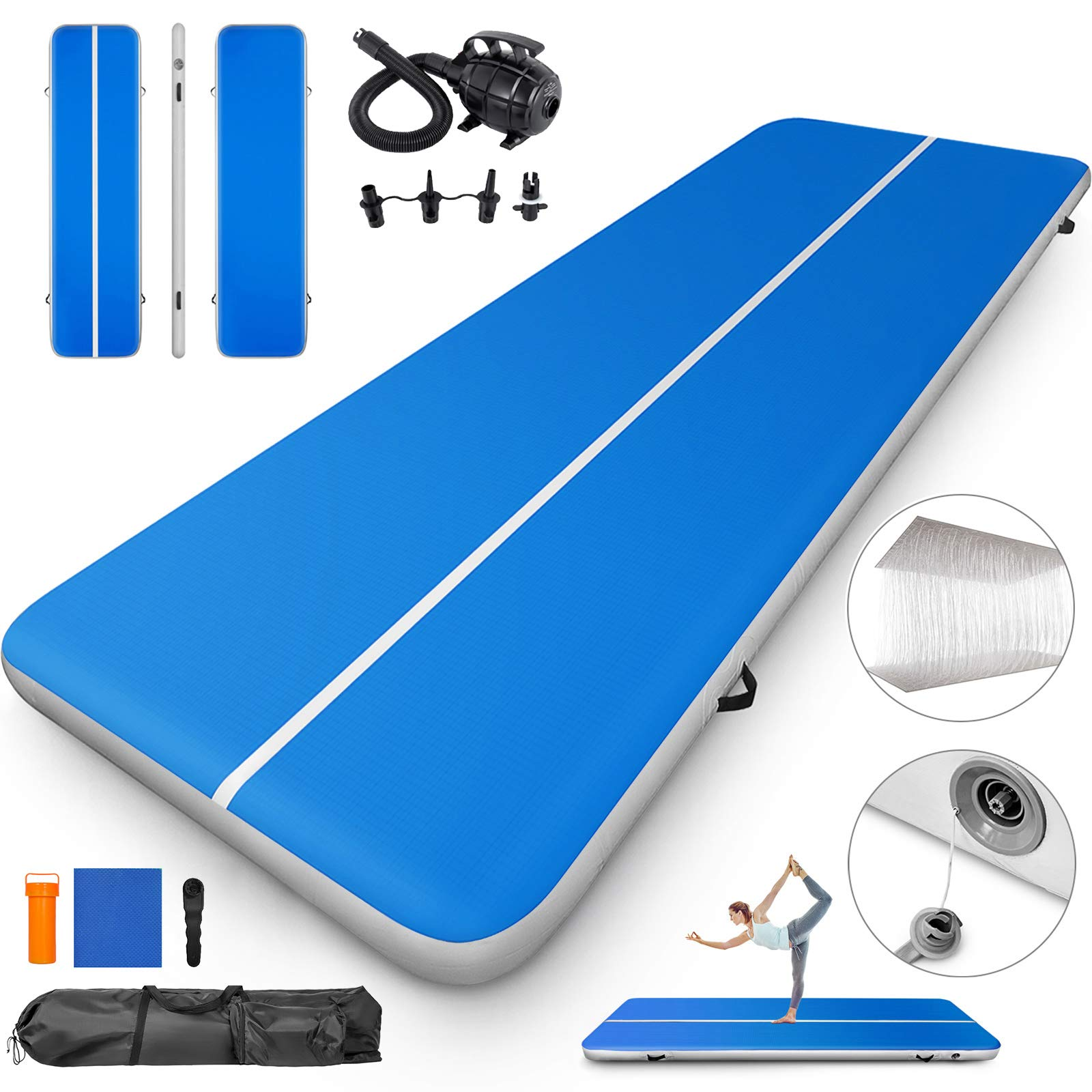 Happybuy 10ft/13ft/17ft/20ft/23ft/26ft/33ft Air Track 8 inches Thick Tumbling Mat Inflatable Gymnastics Airtrack for Home/Cheerleading/Yoga/Parkour/Water with Pump (Blue(40x4in), 13)