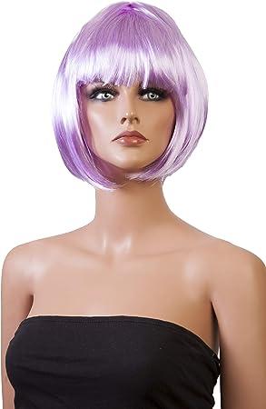 Señoras corto peluca melenas estilo de vestido de lujo / traje peluca / peluca del partido (Lila): Amazon.es: Juguetes y juegos