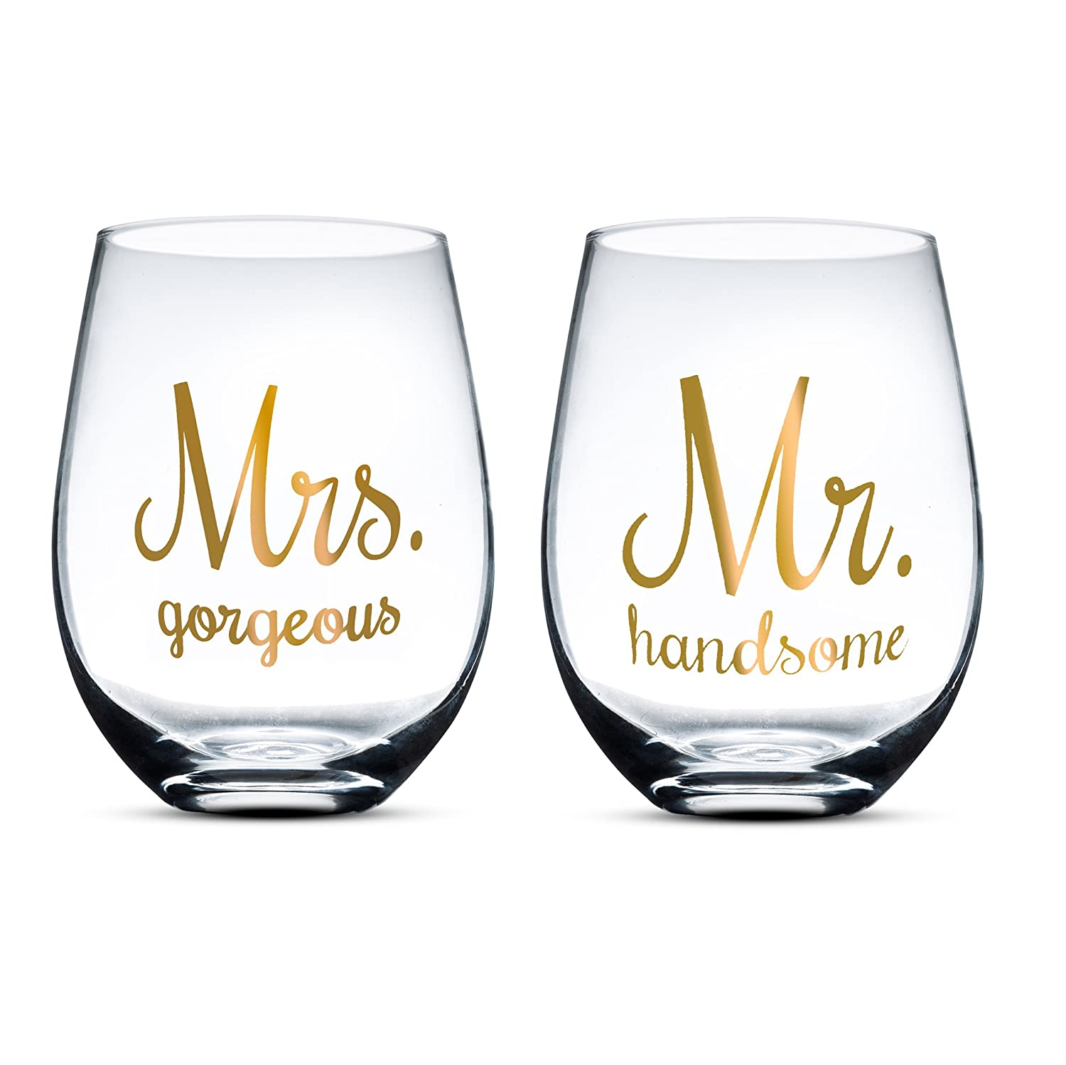 Gifffted Mr Handsome And Mrs Gorgeous Stemless Wine Glasses For The