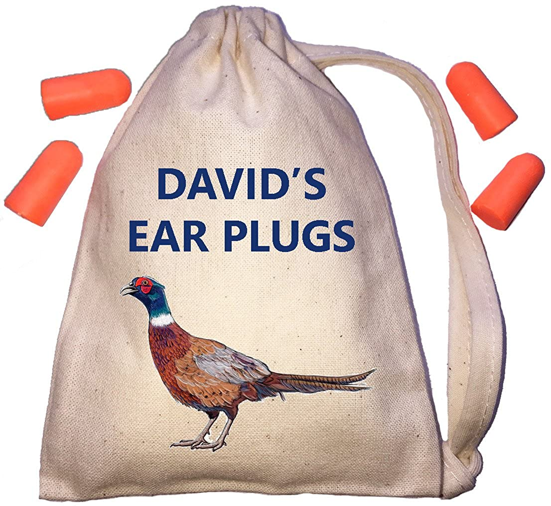 Personalised Pheasant Ear Plugs Storage Bag - TINY Natural Cotton Drawstring Cotton Bag Plus 2 Pairs of Ear Plugs