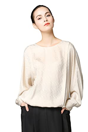c50ed7889bbdb1 Image Unavailable. Image not available for. Color  VOA Women s Beige Scoop  Neck Long Sleeve Silk Blouse Top ...