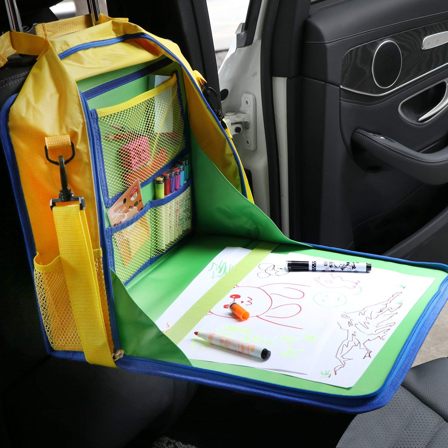 KIPTOP Kids Travel Tray Children Snack and Play Tray for Car Bus Train and Plane Journeys