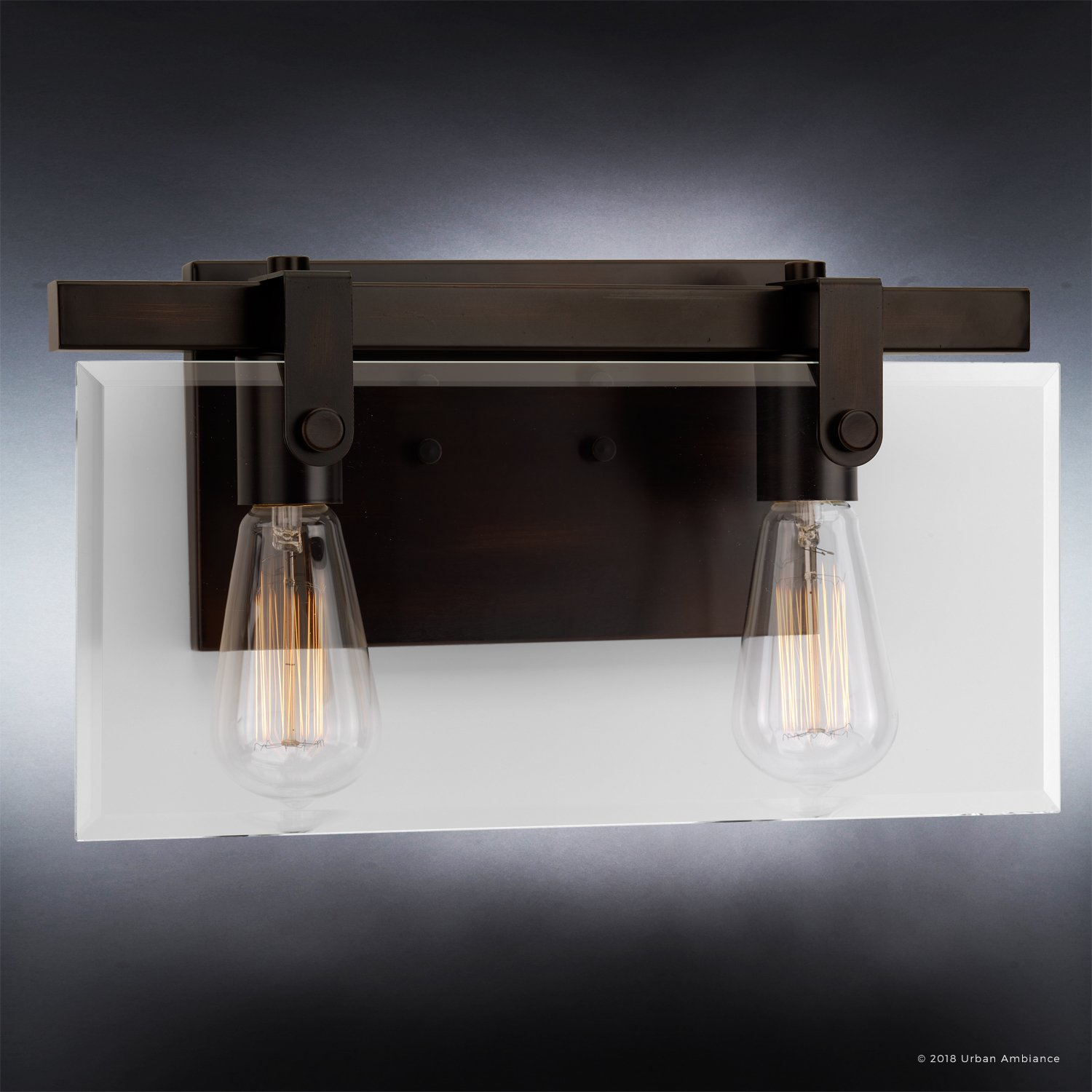 Luxury Modern Farmhouse Bathroom Vanity Light, Medium Size: 8.38'' H x 14.875'' W, with Industrial Chic Style Elements, Olde Bronze Finish, UHP2452 from The Bristol Collection by Urban Ambiance by Urban Ambiance (Image #3)