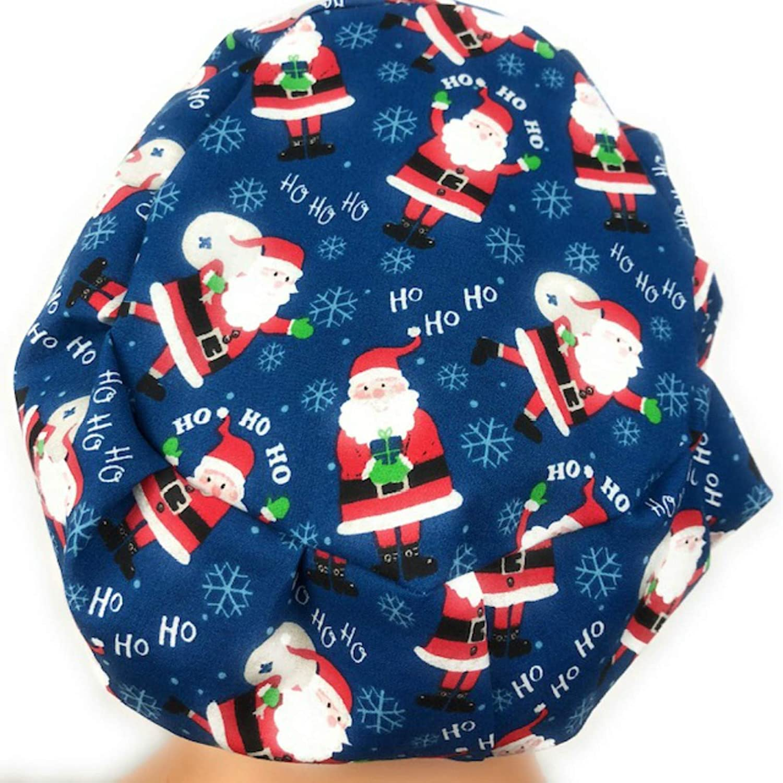 e3c1c61fb09d1 Amazon.com  Euro Surgical Scrub Hats Women s Blue Santa Claus Christmas Cap  Adjustable Bouffant  Handmade