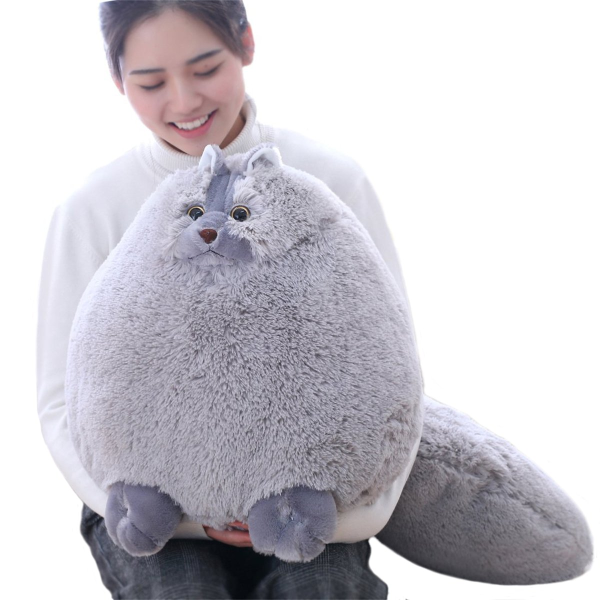 Winsterch Giant Cats Stuffed Animal Plush Cat Toys Pillow Kids Gifts Baby Doll,Gray,19.7 inches