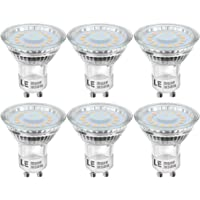LE GU10 LED Light Bulbs, 50W Halogen Bulb Equivalent, 4W, 350lm, Warm White, 2700K, 120° Beam Angle, Pack of 6