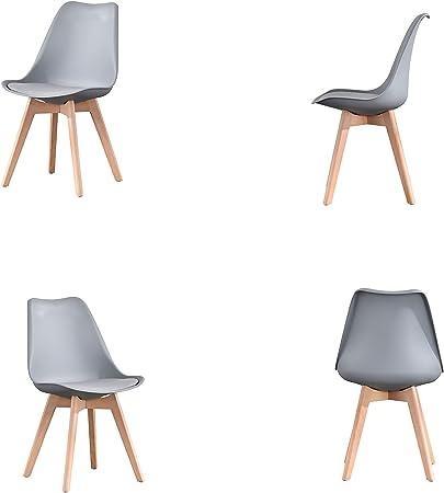 ArtDesign FR Set di 4 Sedie da Pranzo con Sedile Imbottito
