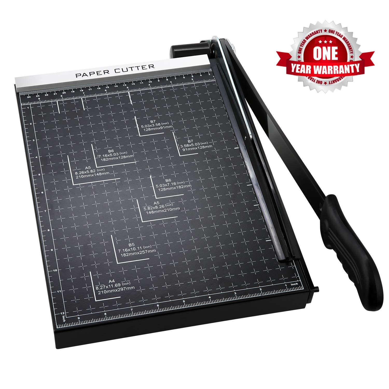 Paper Cutter A4 Paper Trimmer Heavy Duty Photo Guillotine Craft Machine 12 inch Cut Length(A4-Black) by Homdox