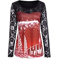 iNewbetter Halloween Costumes for Women Long Sleeve Tunic Shirts Pumpkin Print Lace Blouses Halloween Tops