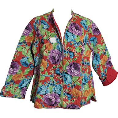 cf954d0c Yoga Trendz Reversible Missy Floral Quilted Cotton Outerwear Jacket  Cardigan Blouse JK No13 (Small/