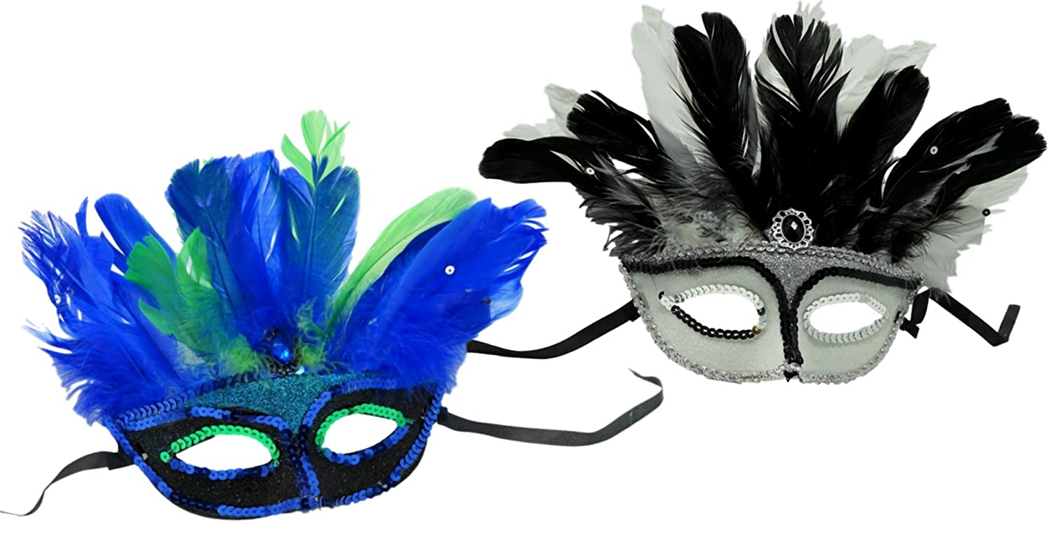 SFAM Masquerade Masks Halloween Costume Mask for Mardi Gras Parties 2 Pack