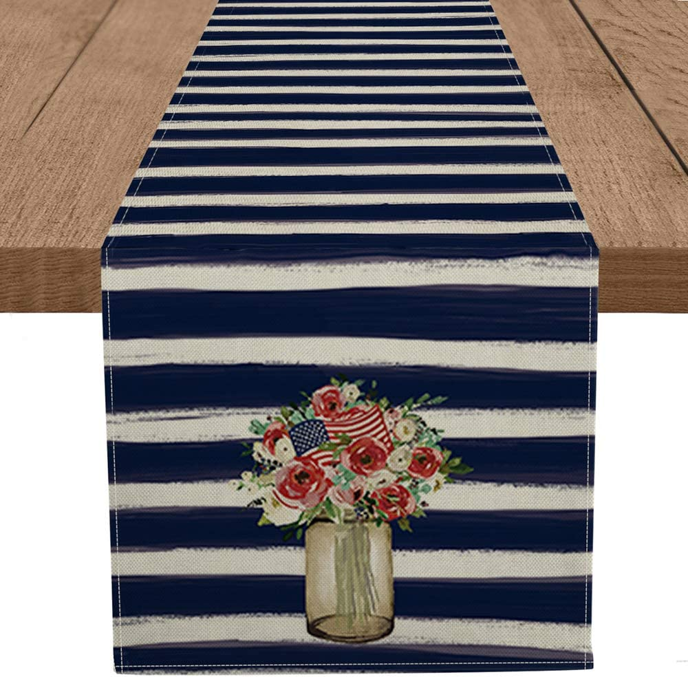 Artoid Mode Watercolor Strips Rose Flowers American Flag Table Runner, 4th of July Patriotic Memorial Day Independence Day Holiday Kitchen Dining Table Runners for Home Party Decor 13 x 72 Inch