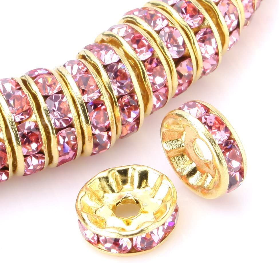 RUBYCA 100pcs High Quality Round Rondelle Spacer Bead Gold Tone 4mm White Clear Czech Crystal