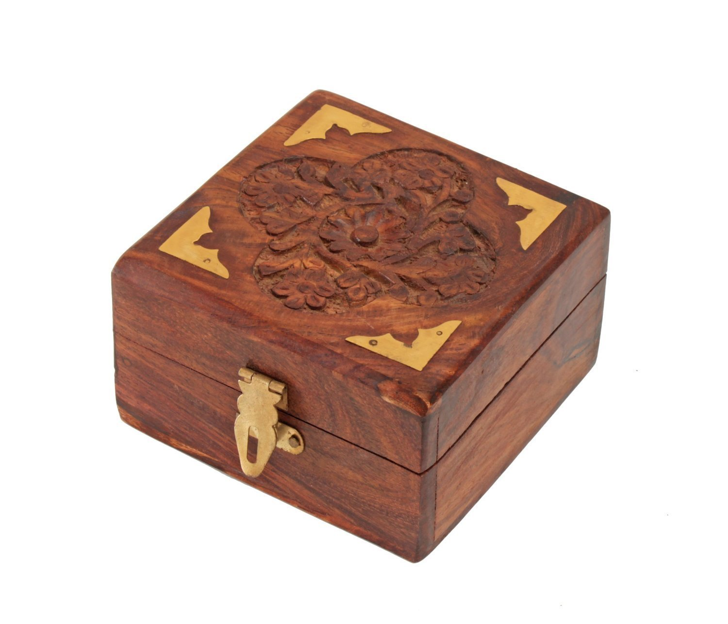 Fine Rosewood Jewelry Trinket Box Keepsake Organizer Handcrafted with Floral Carvings, 4 x 4 inches