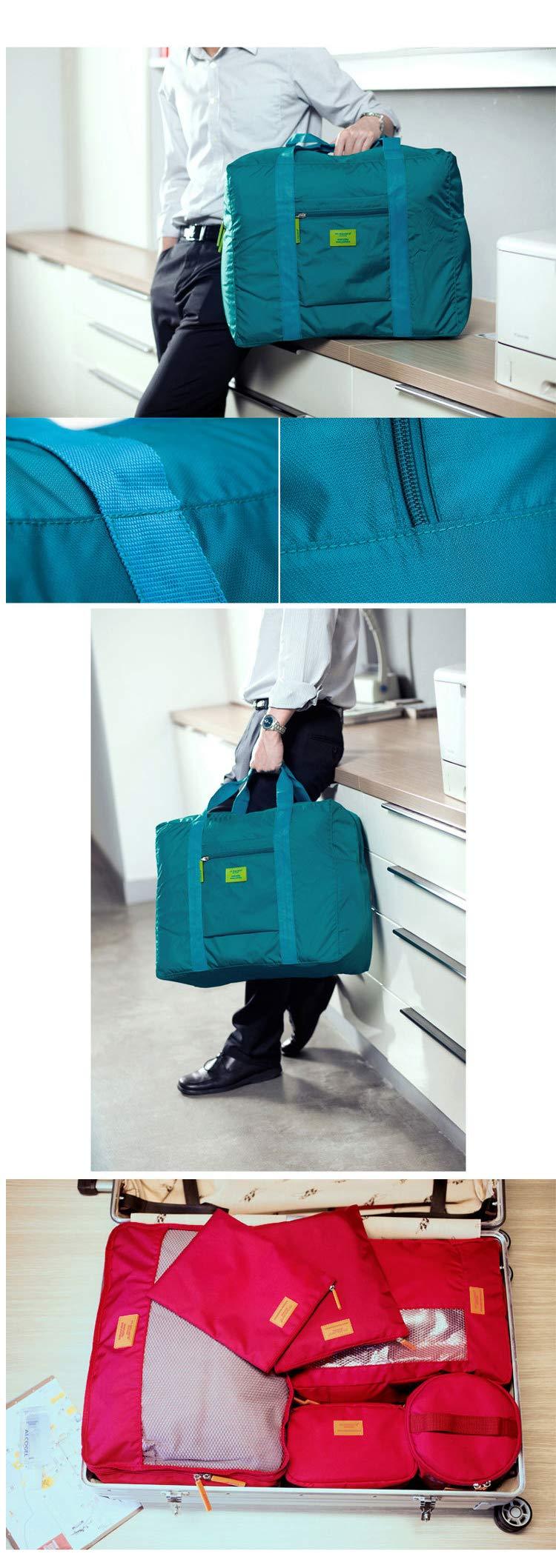Foldable Travel Tote Duffel Bag Lightweight Travel Bag Weekend Waterproof Large Capacity Storage Luggage Organizer (Navy Blue) by Guyay (Image #6)