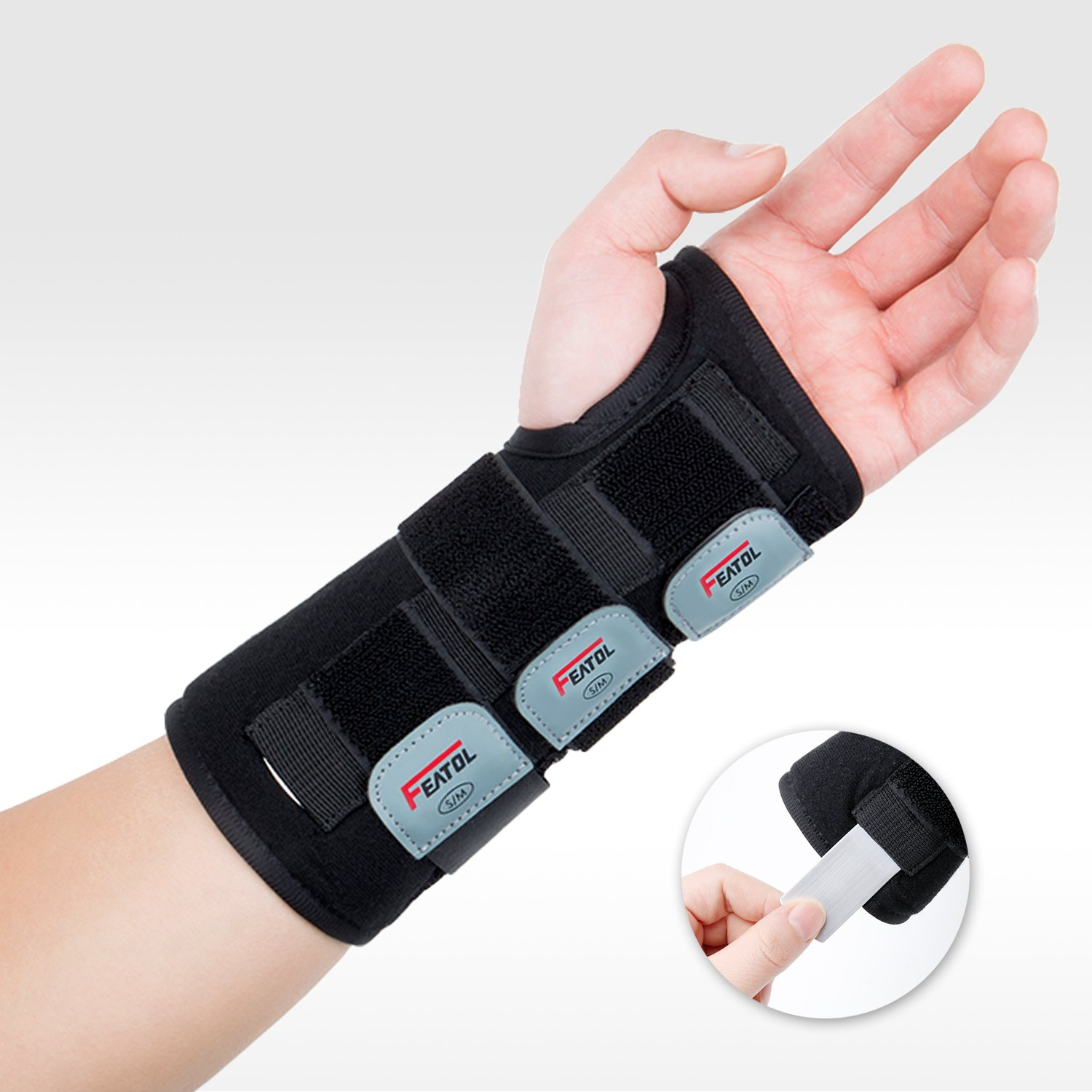 Featol Adjustable Wrist Support Brace with Splints for Carpal Tunnel, Injuries,Wrist Pain, Sprain (M/L, Left)
