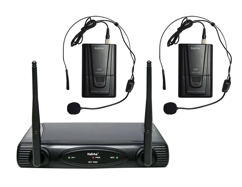 Karma - Set 6082LAV-A, Doppio Radiomicrofono VHF, Base ricevente e 2 microfoni bodypack con archetto