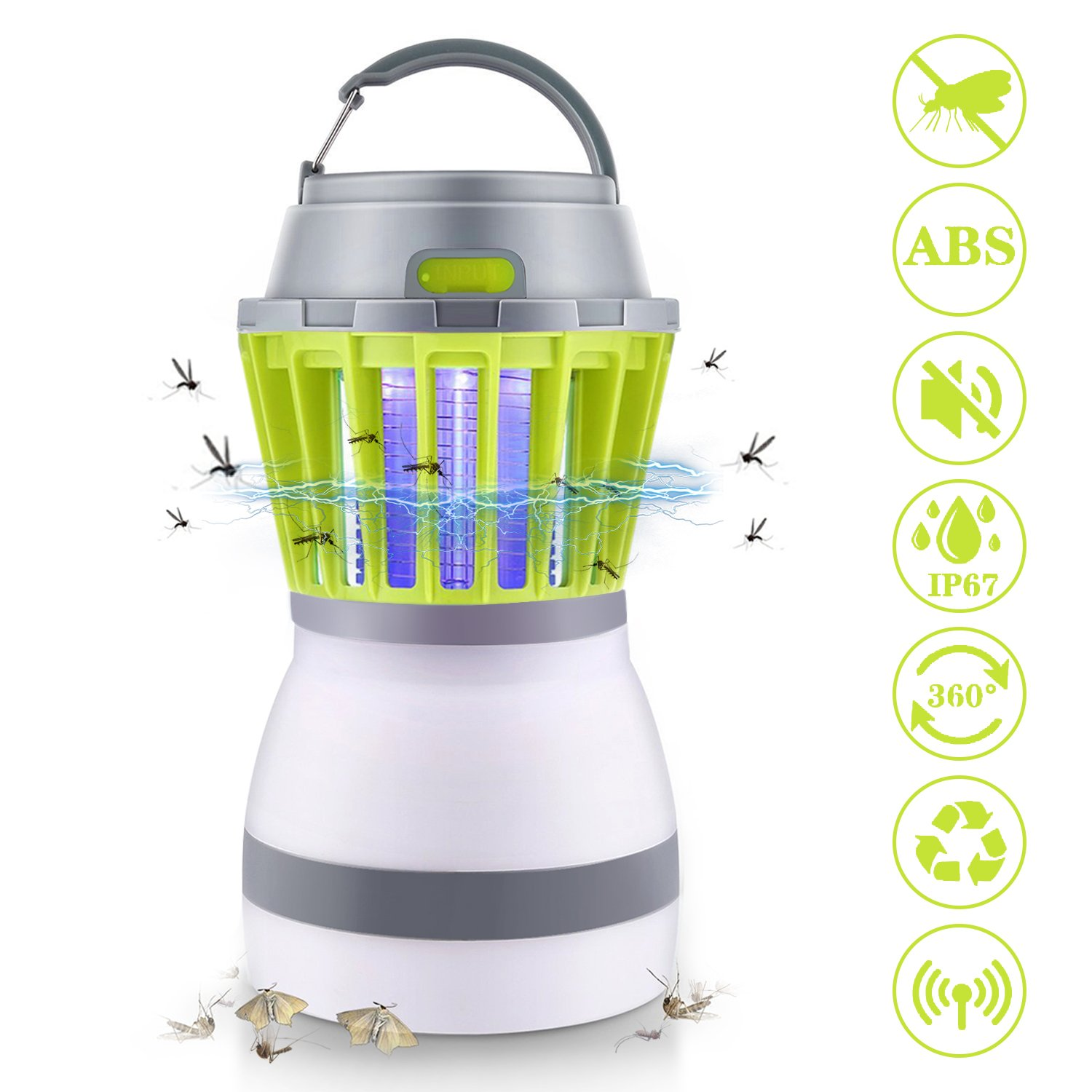 Sammiu Electronic Mosquito Killer Indoor Bug Zapper LED Lamp Non-Toxic Insect Trap Lantern Charge Via USB for Living Room and Bed Room (Green)