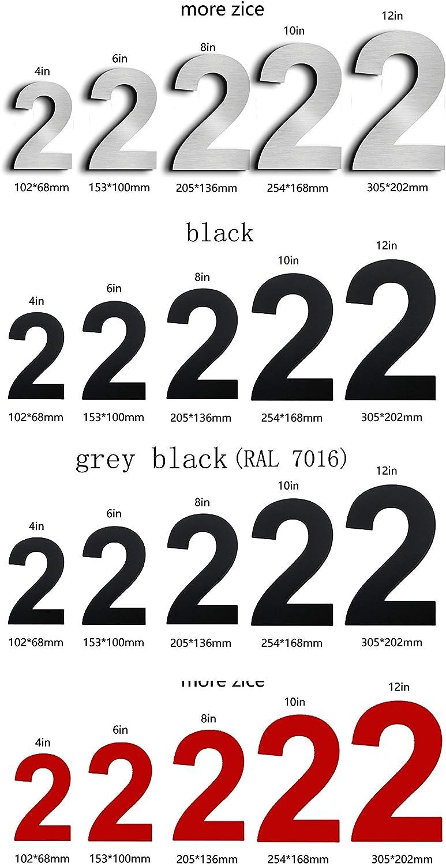 Noir 10in letter a Nanly Num/éro de maison flottant en acier inoxydable de 25,4 cm facile /à installer