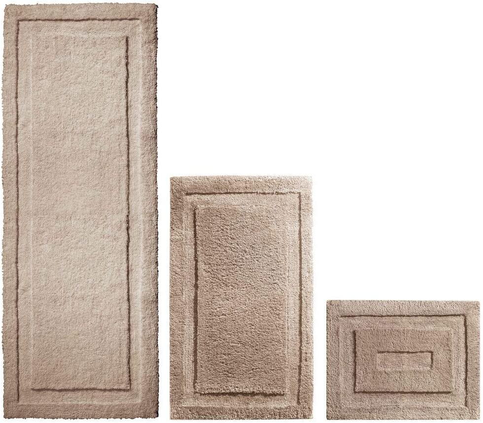 mDesign Soft Microfiber Polyester Spa Rugs for Bathroom Vanity, Tub/Shower - Water Absorbent, Machine Washable - Includes Plush Non-Slip Rectangular Accent Rug Mats in 3 Sizes - Set of 3 - Linen/Tan