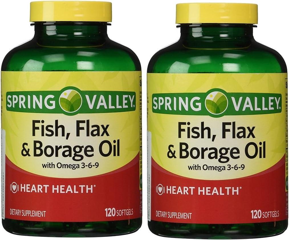Amazon Com Spring Valley Fish Flaxseed Borage Oil Omega 3 6