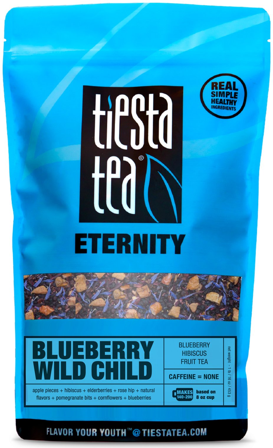 Blueberry Hibiscus Fruit Tea | BLUEBERRY WILD CHILD 1 Lb Bag by TIESTA TEA | Caffeine Free | Loose Leaf Herbal Tea Eternity Blend | Non-GMO