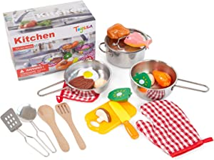 Toyssa Kitchen Pretend Play Accessories Toys with Stainless Steel Cookware Pots and Pans, Cooking Utensils, Cutting Play Food Set Learning Gifts for Kids Boys Girls