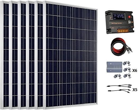 Eco Worthy 600 Watt 24v Off Grid Solar Panels Kits 6pcs 100w Polycrystalline Solar Panel 20a Battery Regulator Charge Intelligent Controller For 24 Volt Charging System In Home Car Boat Caravan