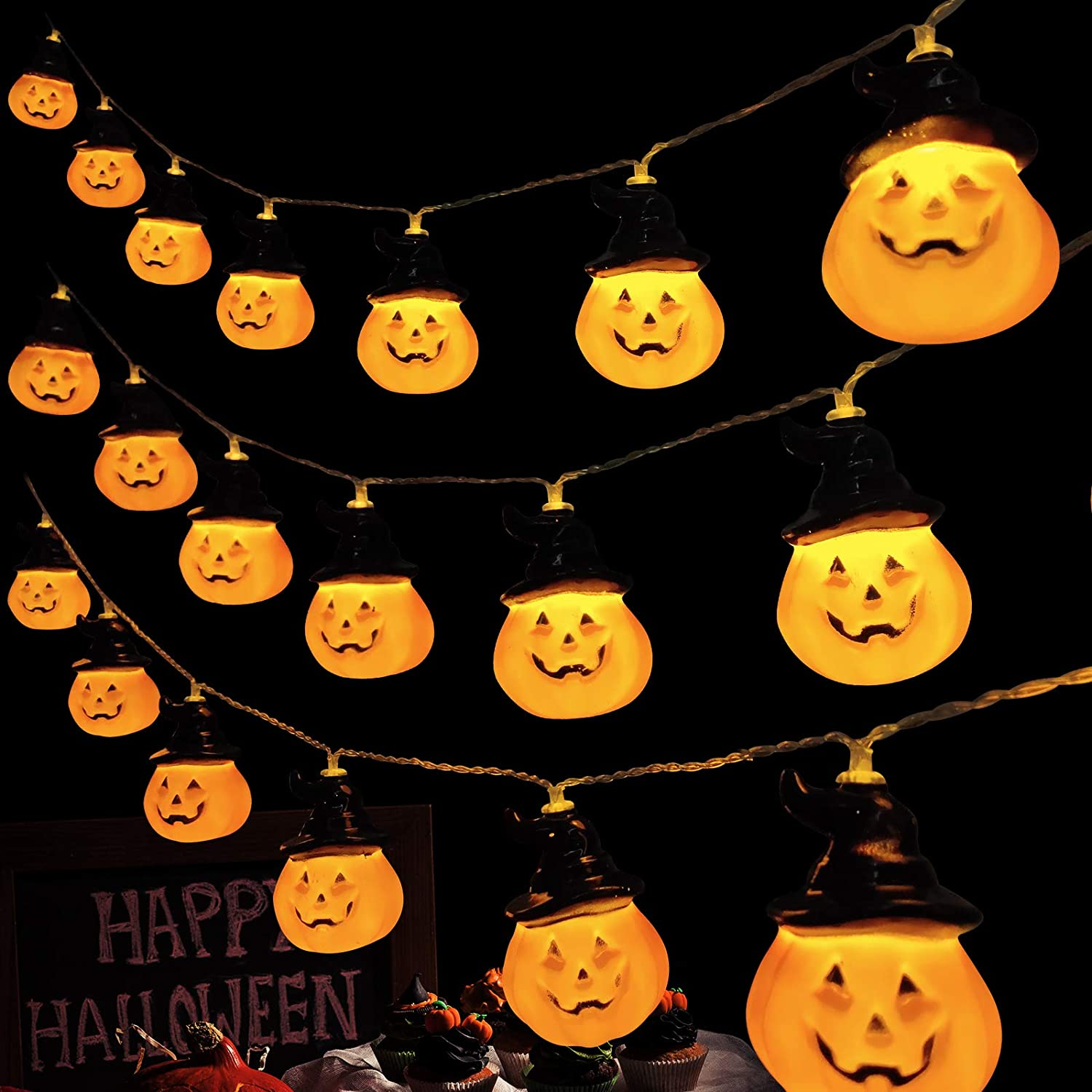 Halloween String Lights 3D Pumpkin Hat String Lights for Indoor Outdoor Halloween Decoration for Door Garden Terrace Porch Fence Terrace Hanging Pumpkin Halloween Party Decor 20 LED Pumpkin Lantern