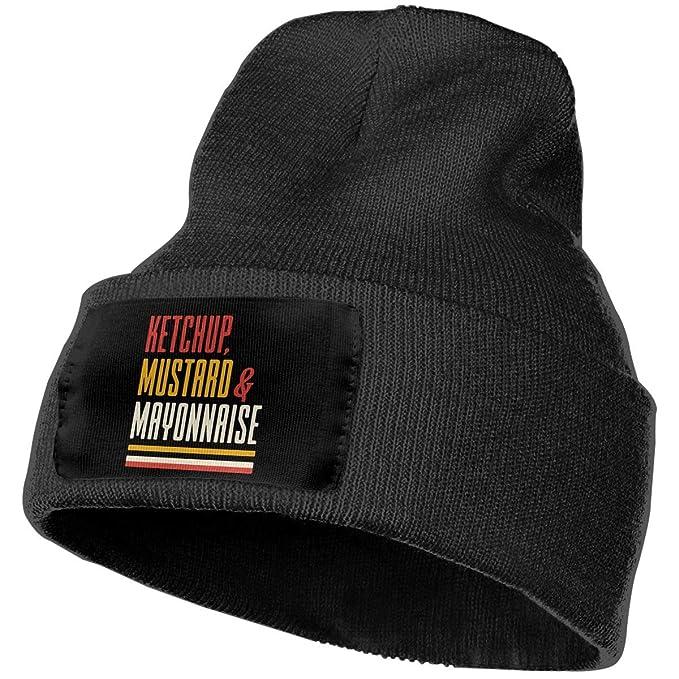 56b8db283e2 Unisex Ketchup Mustard and Mayonnaise Beanie Hat - 100% Acrylic Winter Warm  Skull Knit Cap