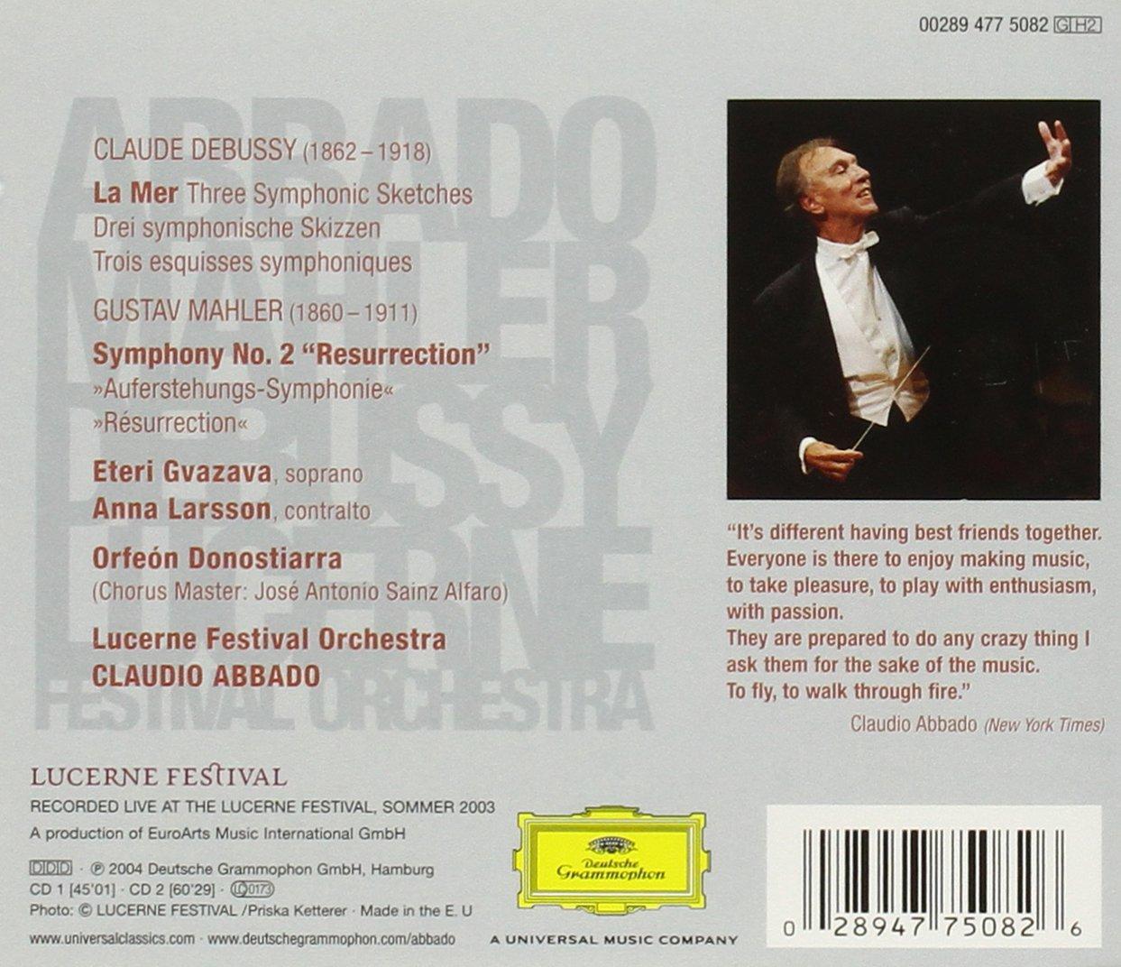 Mahler: Symphony No. 2- Resurrection / Debussy: La Mer- (3) Symphonic Sketches, L. 109 by Deutsche Grammophon