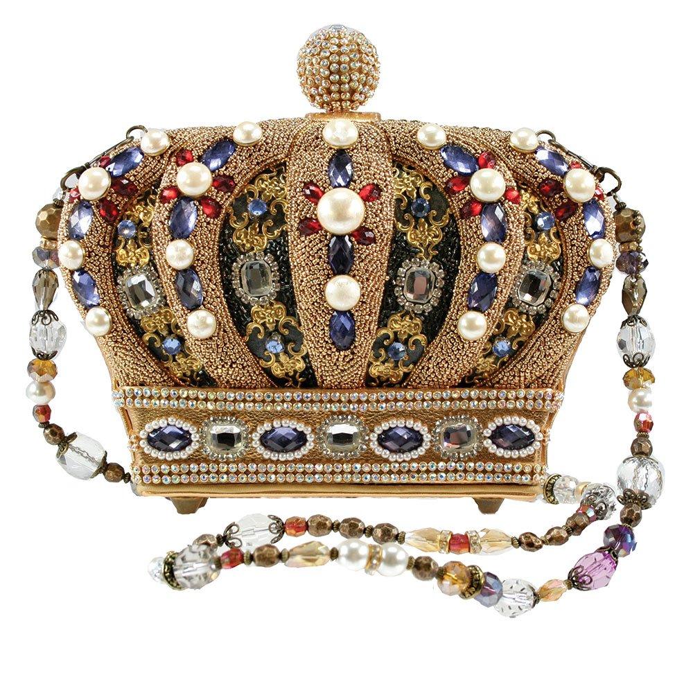 MARY FRANCES Queendom Hand Beaded Jeweled Queen Royal Crown Handbag Shoulder Bag