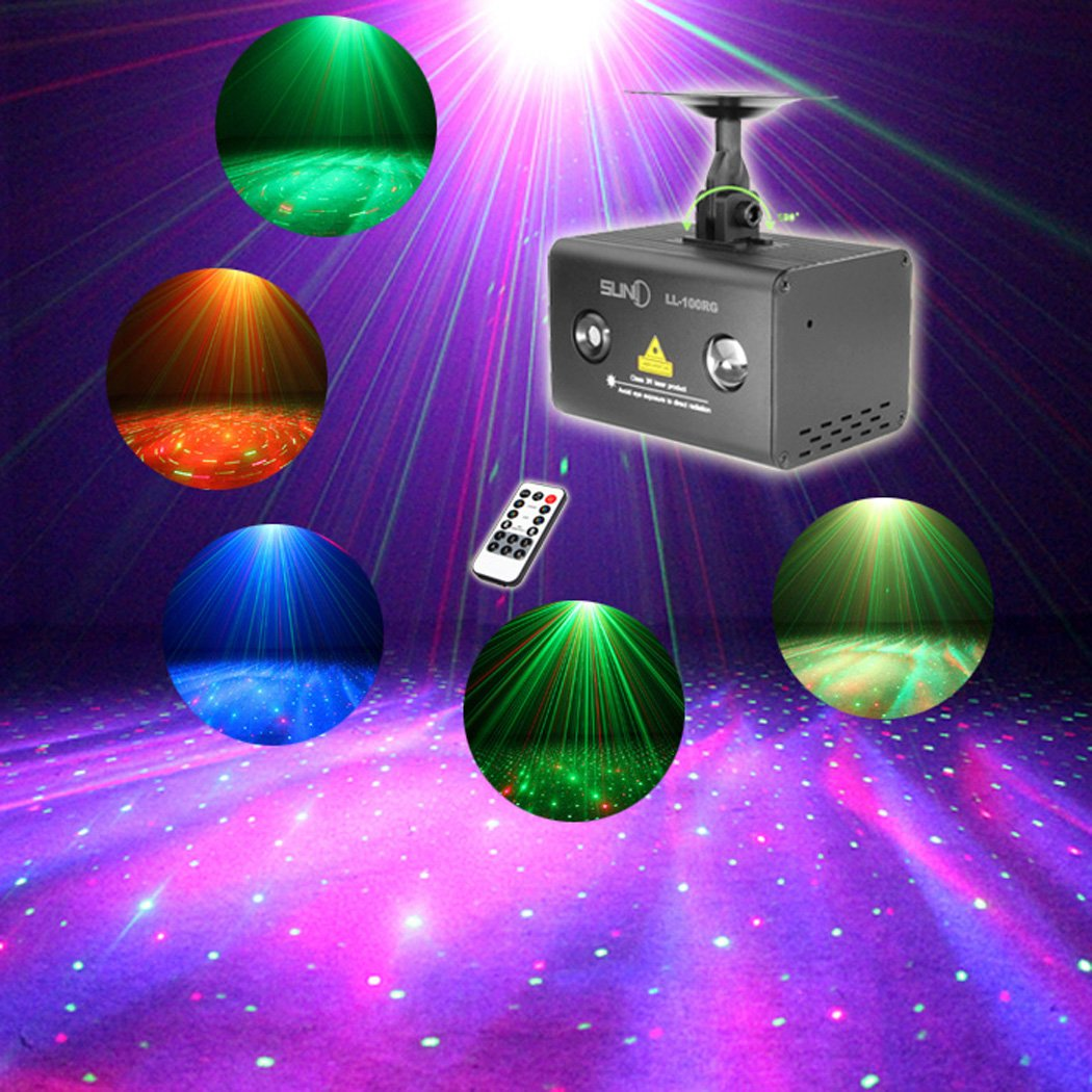 SUNY Mini Party Laser Lights Sound Music Activated Laser Light Show RG Meteor Dots Projector RGB LED Wavy Galaxy Stage Laser Light Indoor Decor DJ Light For Home Disco Bar Night Club Christmas Event