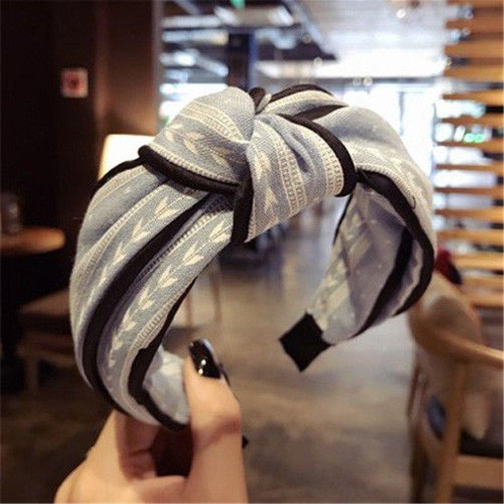 Black Womens Yoga Wide Hairband Turban Elastic Knotted Hair Band Bandanas Headband Handmade Sweet and Cloth Cross Knot Hair Hoop Headwear Hair Accessories