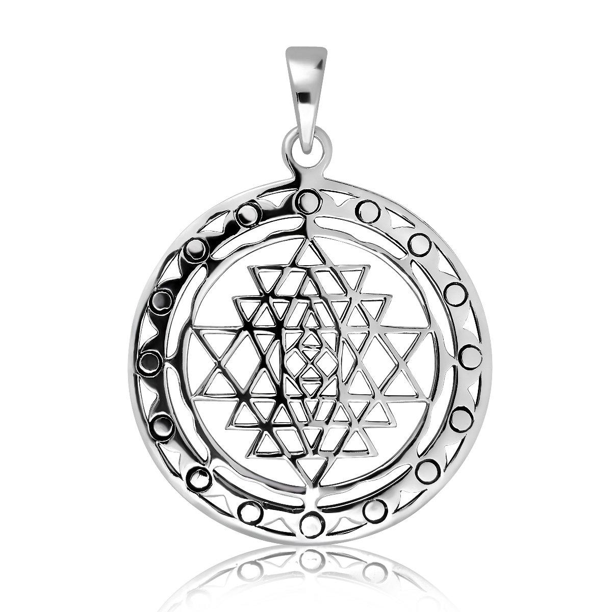 WithLoveSilver Sterling Silver Sri Yantra Sri Chakra Sacred Geometry  Talisman Pendant