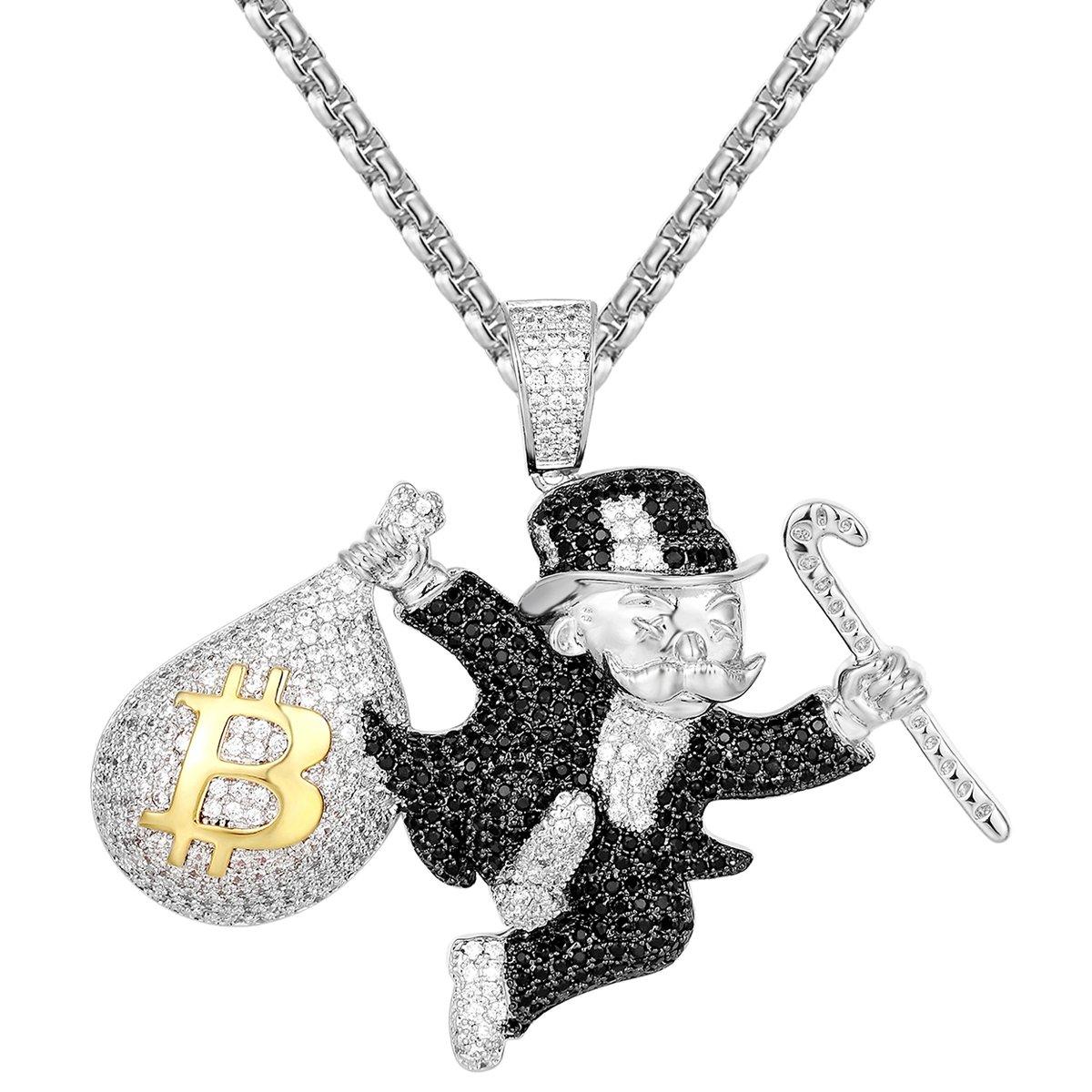 JuwlCity Black &White Monopoly Man Bitcoin Money Bag Pendant Free Box Chain