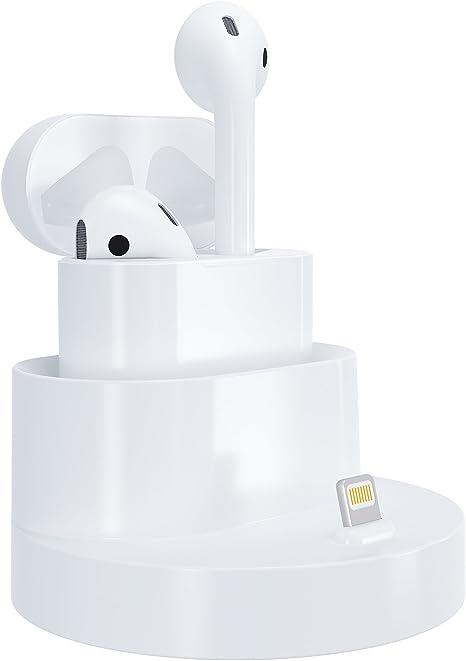 Soporte de carga GOOQ para Airpods o iPhone, para el estuche inalámbrico de los auriculares, color blanco: Amazon.es: Deportes y aire libre