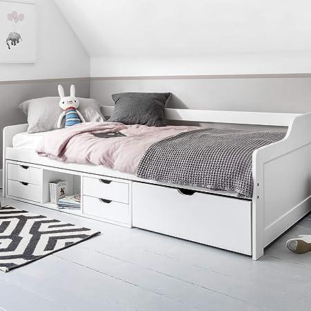 Cama de madera de pino en color blanco.,Con cajones extraíbles debajo.,Dimensiones totales: 204 cm d