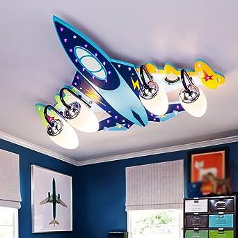 Ali Kinderzimmer Deckenlampe Jungen Kreative Flugzeug Lichter Schlafzimmer  LED Augenschutz Mädchen Karikatur Raum Lichter/E14 * 3/4 (größe : ...