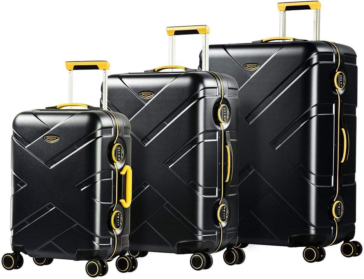 EMINENT Gold Crossrover Set 3 Maletas Ultra Ligeras | 3 Piezas de Equipaje de Viaje (1 de Cabina + 2 para Bodega M y L) | 4 Ruedas de 360°, Policarbonato, Candado TSA y Manija Telescópica