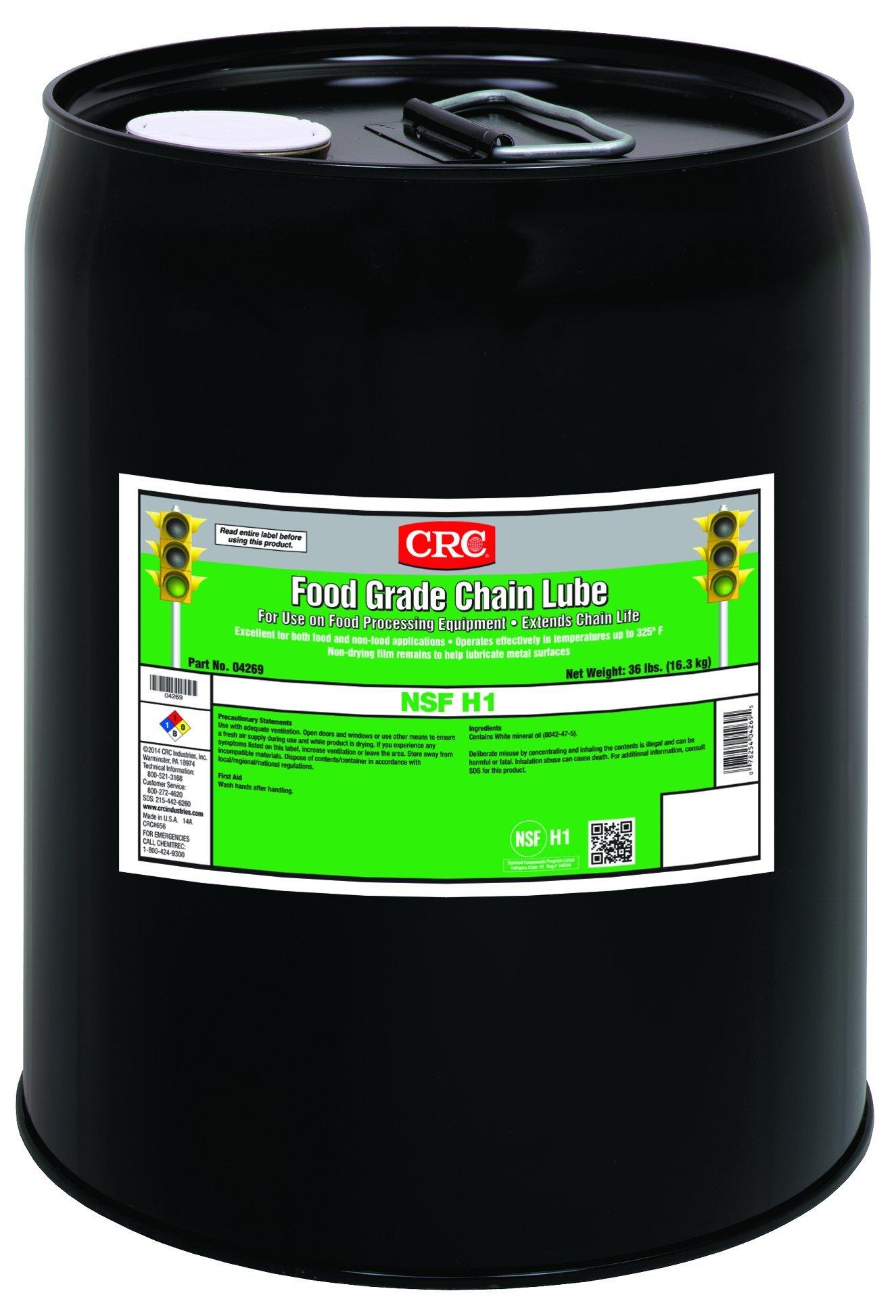 CRC Food Grade Chain Lubricant, 5 Gallon Pail, Clear/White