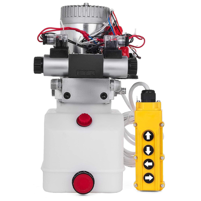Mophorn Bomba Hidr/áulica 24V Cilindro Hidr/áulico 4.5L Bomba Hidr/áulica Remolque Tanque de Doble Acci/ón Cilindro Hidr/áulico para Coche Bomba Hidr/áulica con Efecto Doble