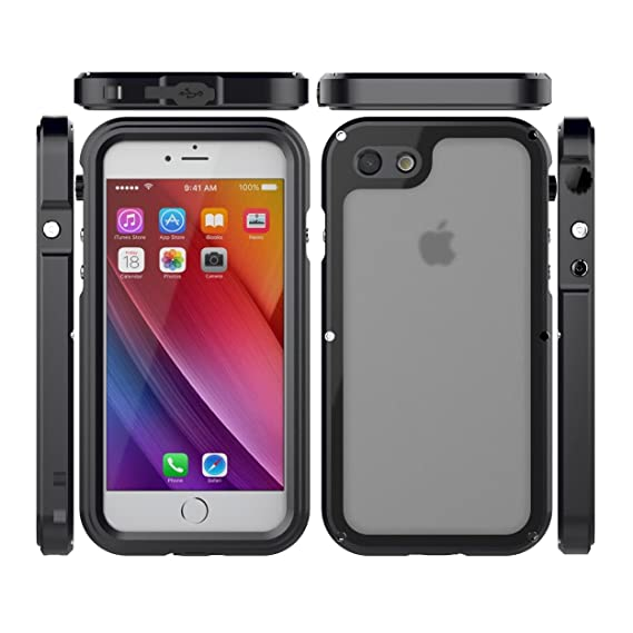 timeless design 9cc4e df26c iPhone X Waterproof Metallic Case, CHEETOP IP68 Full-body Shockproof  Snowproof Aluminum Metal Rugged Transparent Slim Light Case with Built-in  Screen ...