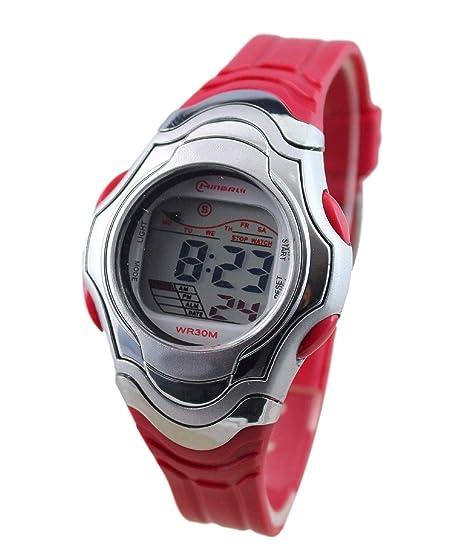 Reloj infantil de cuarzo, digital, rosa, deportivo con cronómetro y alarma, sumergible.: Amazon.es: Relojes