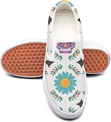 Girl Skull Slip On Canvas Upper Sneakers Canvas Shoes for Women Fashion