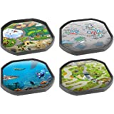 Four Mat Bundle (Alphabet Zoo, Space Station, Underwater World and the Lost World) - Ideal for Tuff Spot Play Tray