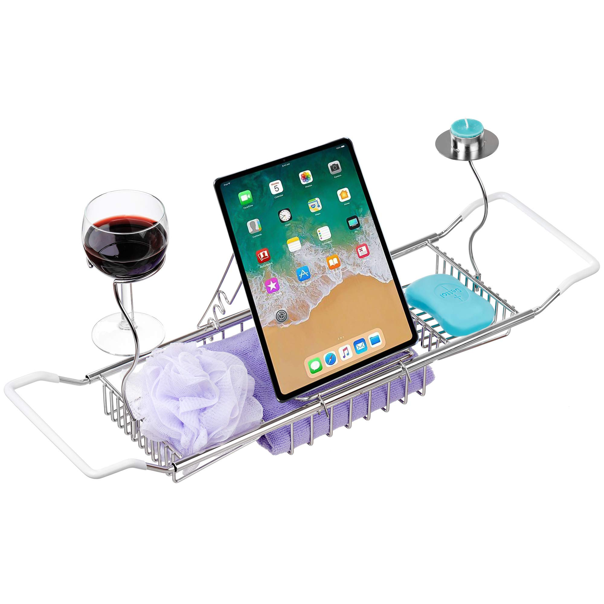 iPEGTOP 304 Stainless Steel Bathtub Caddy Tray Expandable Bath Organizer, Tub Shelf for Reading with Book and Wine Rack, Candleholder