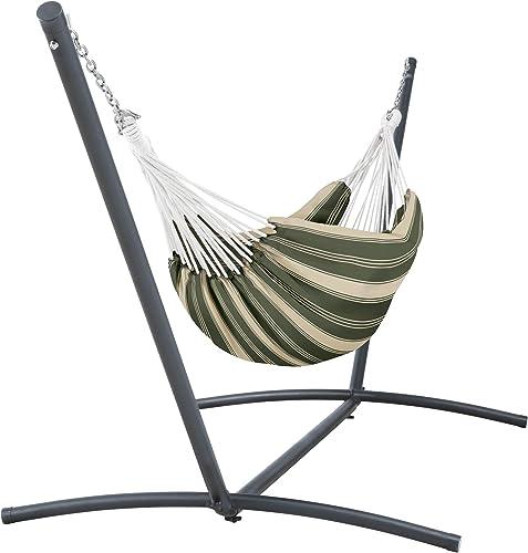 Classic Accessories Montlake FadeSafe Brazilian Hammock with Steel Stand, Fern Green Stripe