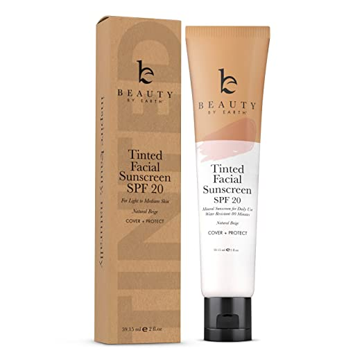 Tinted Sunscreen for Face - SPF 20 With Natural & Organic Ingredients Broad Spectrum Sunblock Lotion, Tinted Moisturizer Zinc Oxide Sunscreen Face for Skincare, Facial Sunscreen (Light Beige)