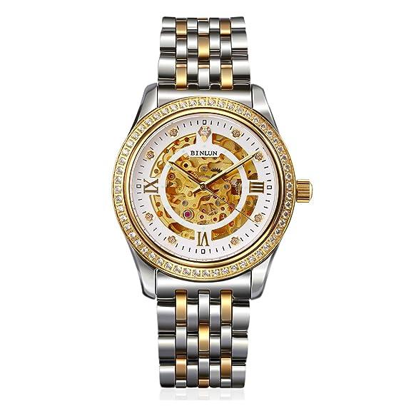 binlun Mens 18 K oro reloj Diamond Esqueleto Automático Mecánico vestido relojes para hombres